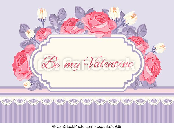 Shabby Chic Background Roses With Be My Valentine Sample Text In Vintage Frame Floral Card Template Vector Illustartion