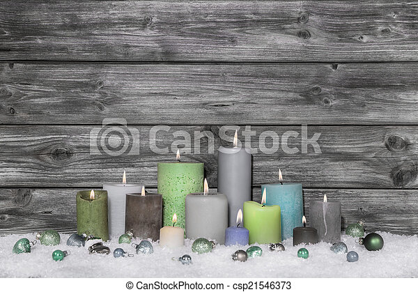 Shabby chic christmas decoration on grey wooden background with  - csp21546373