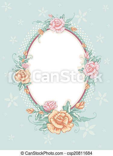 Shabby chic floral frame. Shabby chic-themed frame featuring ...