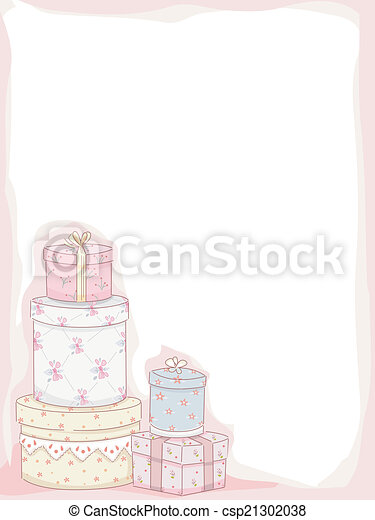 Shabby Chic Frame Illustration Featuring Stacks Of