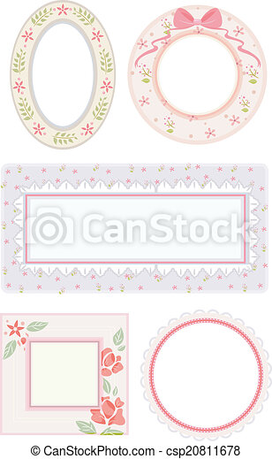 Shabby Chic Frames Illustration Featuring Flowery