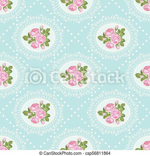Shabby Chic Rose Seamless Pattern Background Vector Illustartion