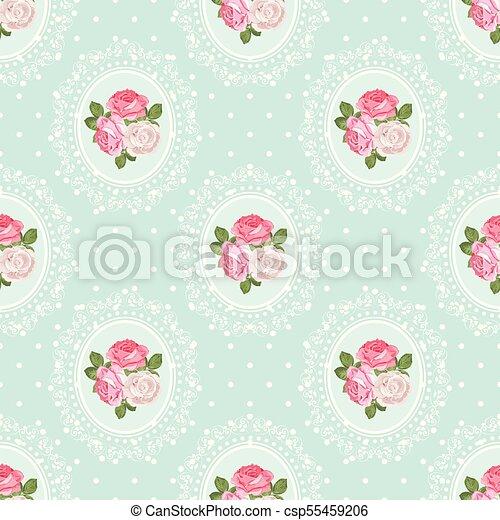 Shabby Chic Rose Seamless Pattern On Polka Dot Background Vector Illustartion