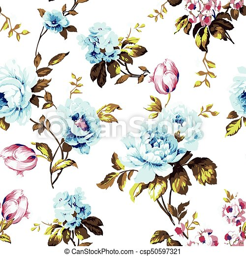 Shabby chic vintage roses seamless pattern - csp50597321