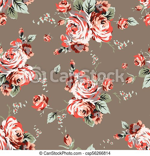 Shabby chic vintage roses seamless pattern - csp56266814