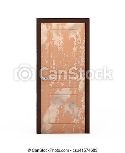 shabby door on white background 3d render - csp41574683