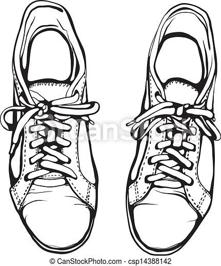 shabby running shoes in black ink sports footwear vector eps rh canstockphoto com