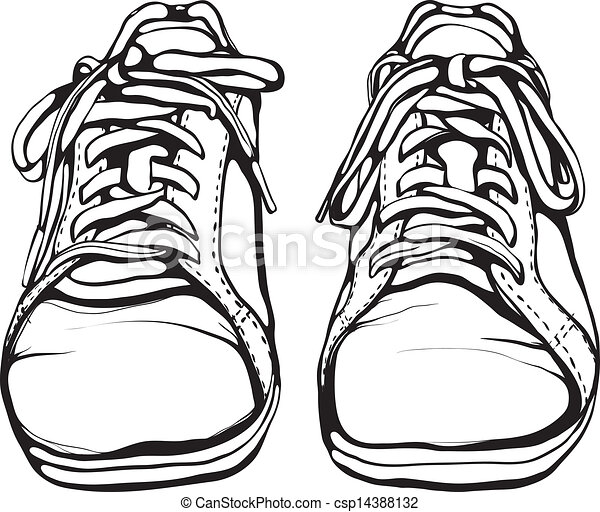 shabby running shoes in black ink sports footwear vector vectors rh canstockphoto com Vector Graphics Background running shoe vector graphic