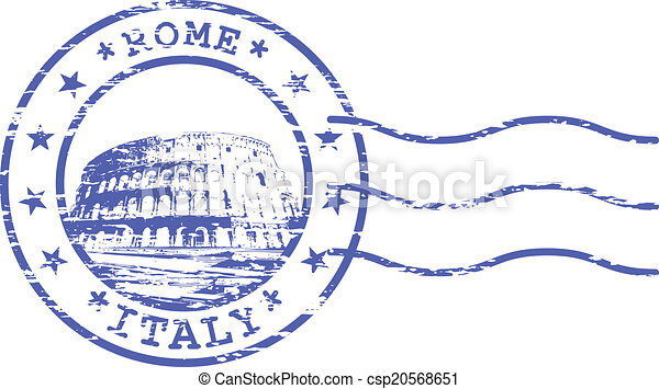 Shabby stamp with Rom Colosseum - csp20568651