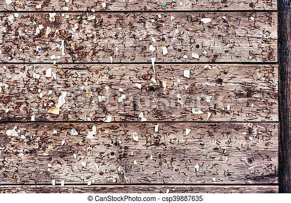 Shabby wooden wall with pins - csp39887635