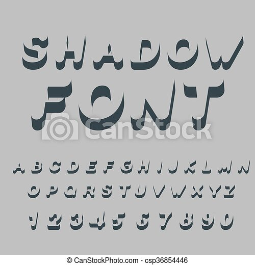Shadow font. Set of letters of drop shadow. 3D letters of alphabet. silhouette
