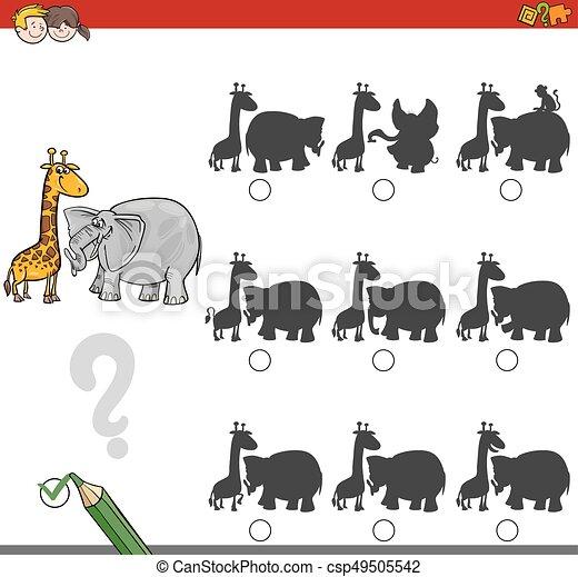 shadow game activity with safari animals - csp49505542