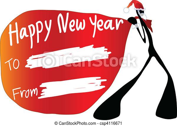 shadow man happy new year - csp4116671