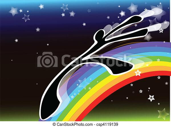 shadow man rainbow - csp4119139