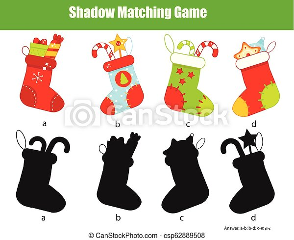 Shadow matching game. Kids activity with Christmas stockings. New year  theme fun page for toddlers