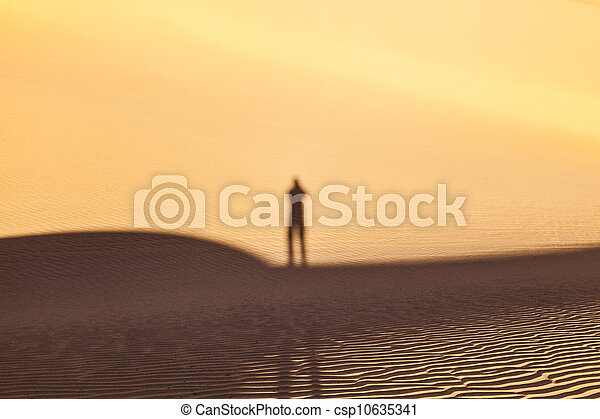 shadow of a man in the desert - csp10635341