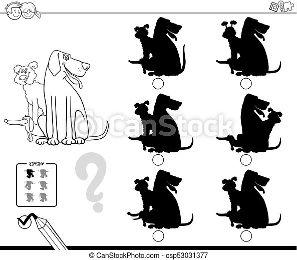 shadows with dogs educational color book - csp53031377
