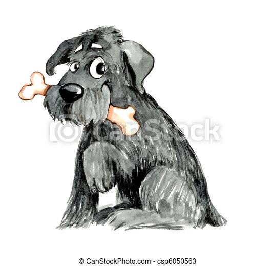 shaggy dog with bone - csp6050563