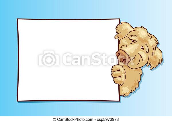 Shaggy dog with card - csp5973973