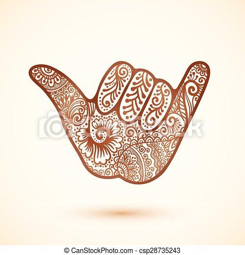 Shaka Surfers Hand In Indian Henna Tattoo Style Vector Shaka
