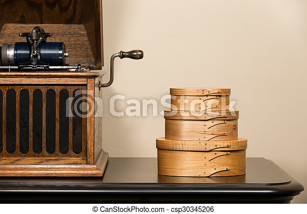 Shaker Boxes and Antique Phonograph - csp30345206