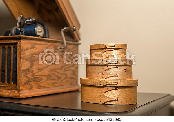 Shaker Boxes Near Antique Phonograph - csp55433695