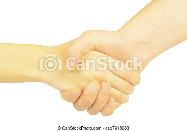 Shaking hands of two people, man and woman. - csp7918083