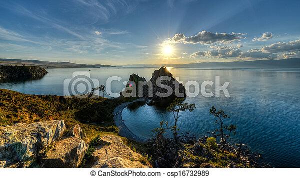 Shaman Rock, Island of Olkhon, Lake Baikal, Russia - csp16732989