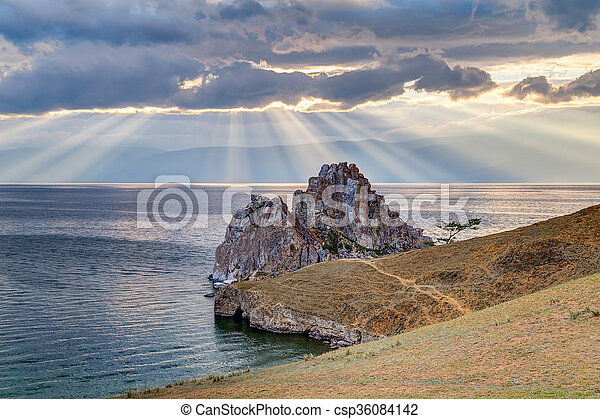 Shaman Rock, Lake Baikal in  Russia - csp36084142
