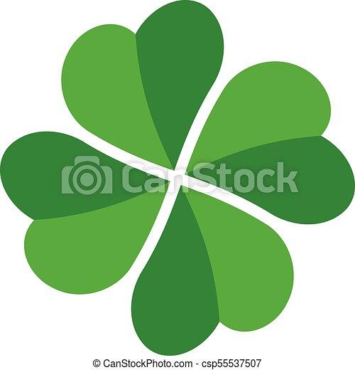 shamrock green four leaf clover icon good luck theme design element simple twisted shape vector illustration
