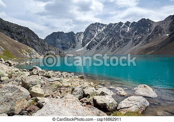 shan, kyrgyzstan, tien, jezioro, ala-kul, majestatyczny - csp16862911