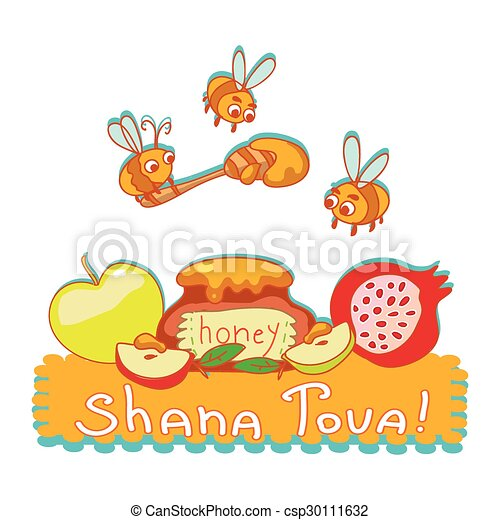 Shana tova greeting card cute background with bees honey shana tova greeting card cute background with bees honey pomegranate and applertoon m4hsunfo