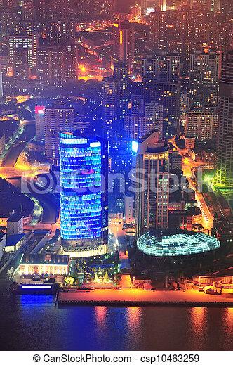 Shanghai aérea al atardecer - csp10463259