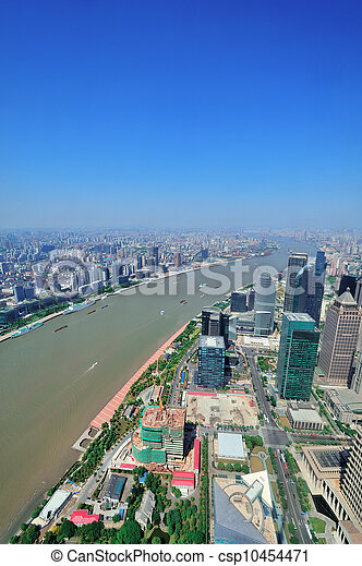 Shanghai aerial in the day - csp10454471