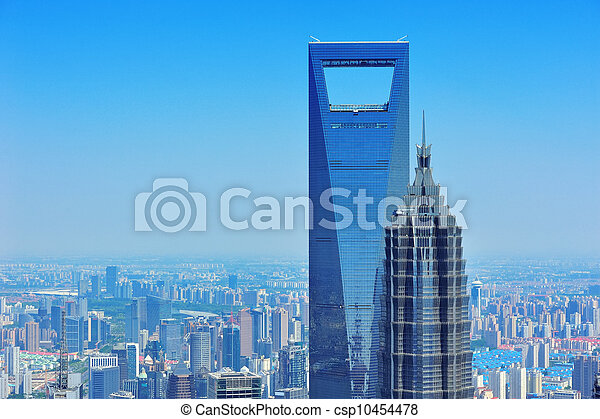 Shanghai aerial in the day - csp10454478