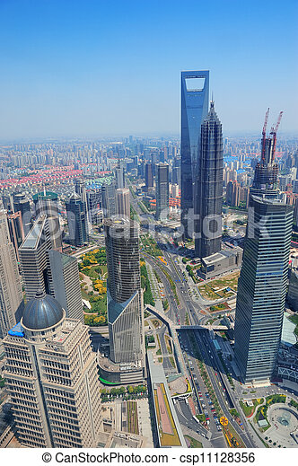 Shanghai aerial in the day - csp11128356