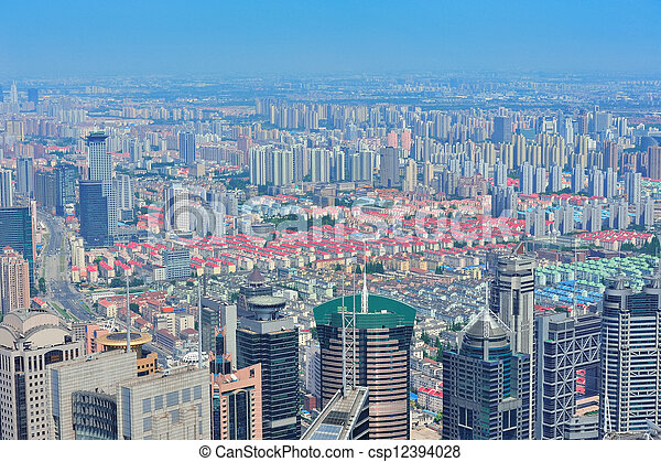 Shanghai aerial in the day - csp12394028