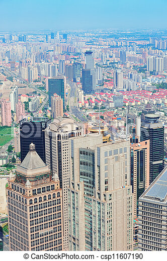 Shanghai aerial in the day - csp11607190