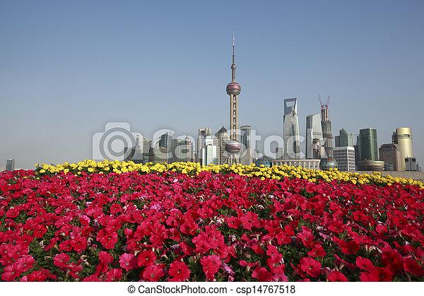 Shanghai bund landmark skyline at New city landscape - csp14767518