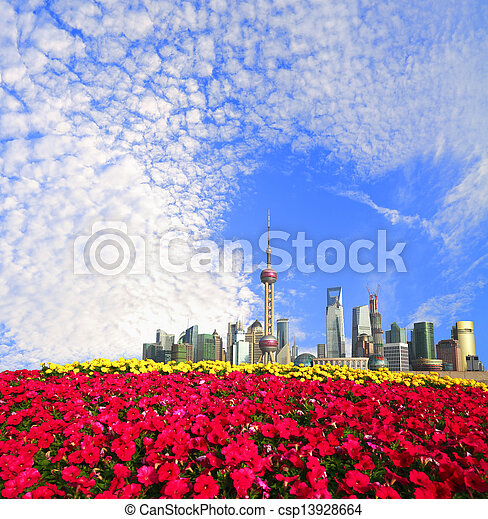 Shanghai bund landmark skyline at New city landscape - csp13928664