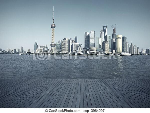 Shanghai bund landmark skyline urban buildings landscape - csp13964297