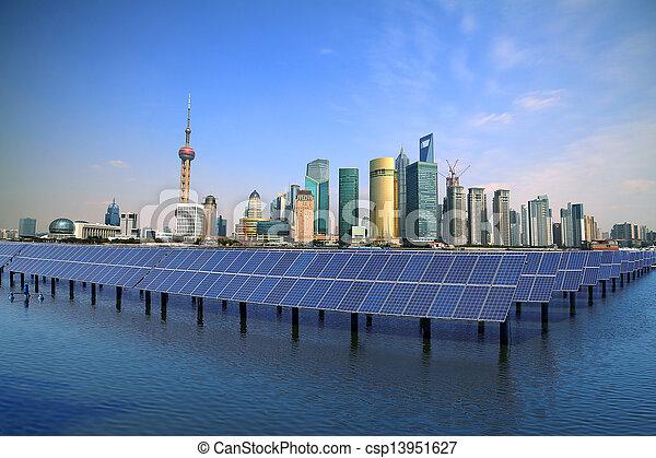 Shanghai Bund skyline landmark at Ecological energy Solar panel - csp13951627