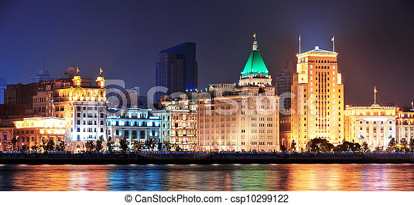 Shanghai Historic Architecture At Night Lit By Lights Over Huangpu