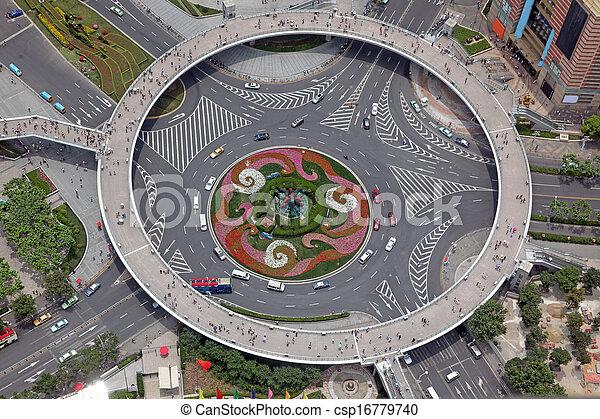 shanghai, kilátás, antenna, kína, útkereszteződés - csp16779740