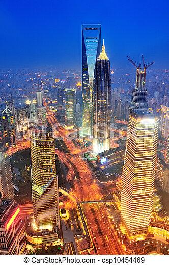 shanghai, luftaufnahmen, dämmerung - csp10454469