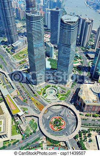 shanghai, luftaufnahmen, tag - csp11439507