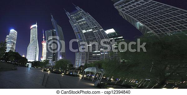 Shanghai Lujiazui Finance & City landmark buildings Urban night landscape  - csp12394840