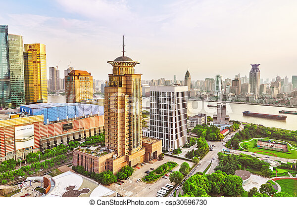 SHANGHAI-MAY 24, 2015. Skyline view from Bund waterfront on Pudong New Area- the business quarter of the Shanghai. Shanghai district in most dynamic city of China. - csp30596730