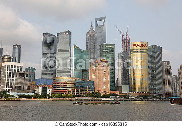 Shanghai Pudong skyline view from the Bund - csp16335315