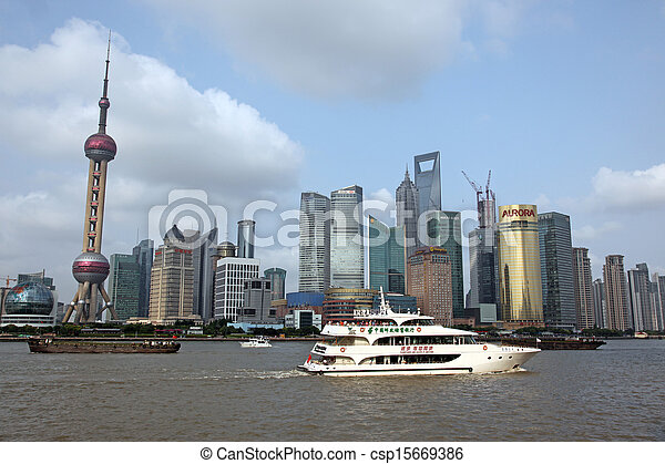 Shanghai Pudong skyline view from the Bund - - csp15669386